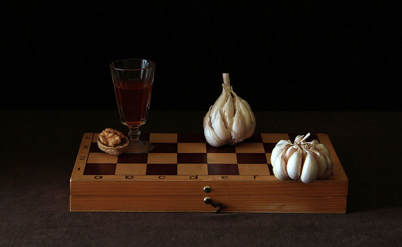 Shot Glass of Brandy on the Chess Board
